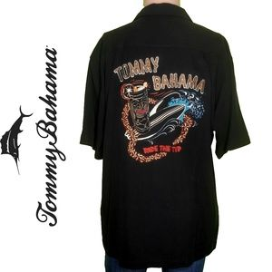 Tommy Bahama Embroidered Tiki Surf Silk Shirt SZ M